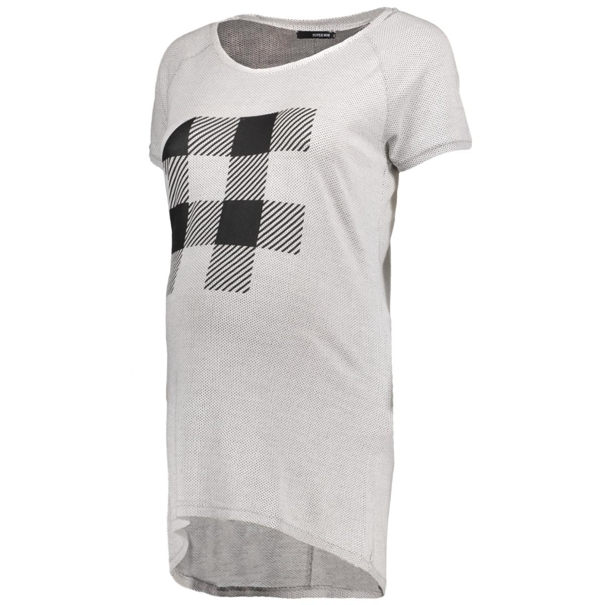s0713 tee check supermom positie shirt light grey
