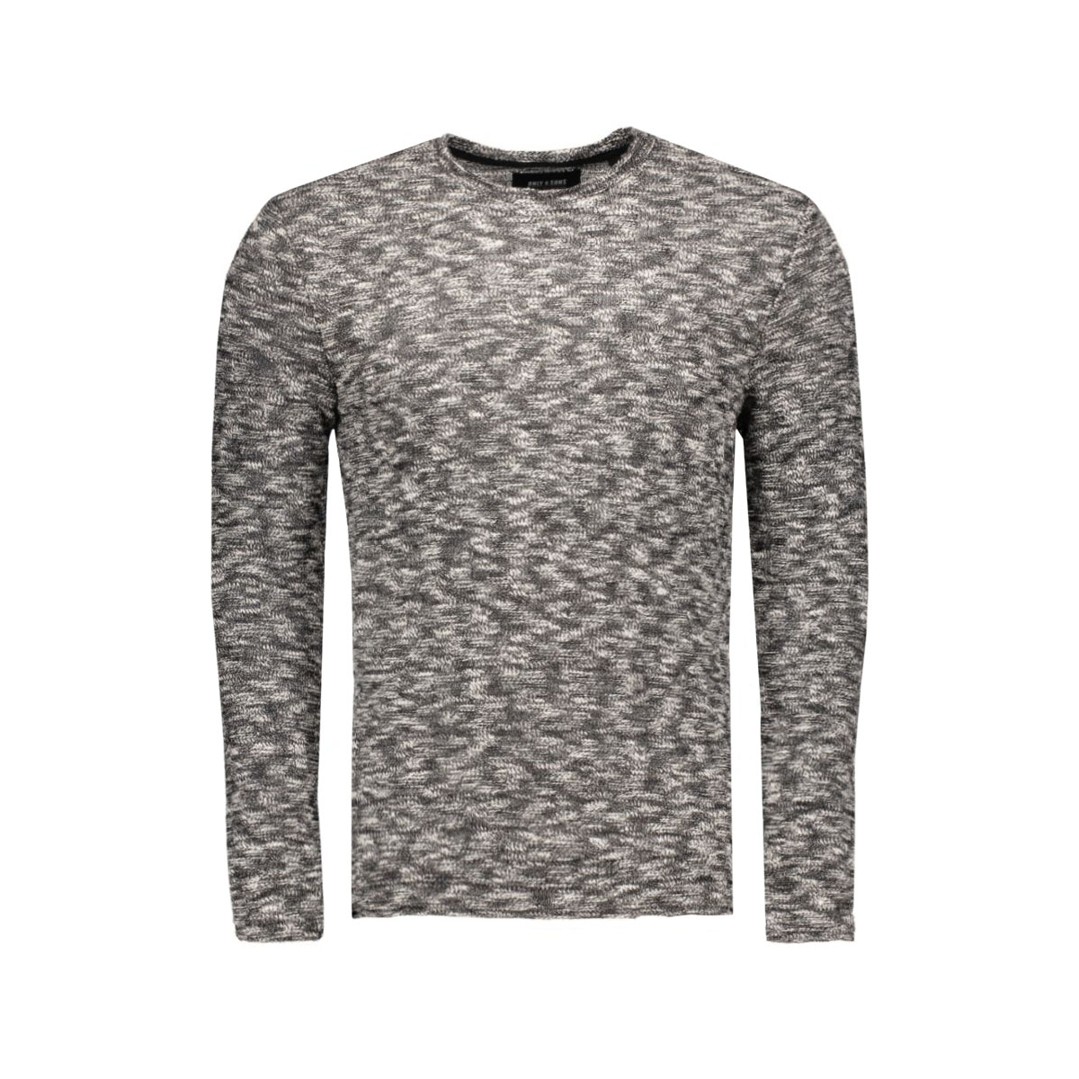 onsfelicito knitted crew neck 22004528 only & sons trui black/melange