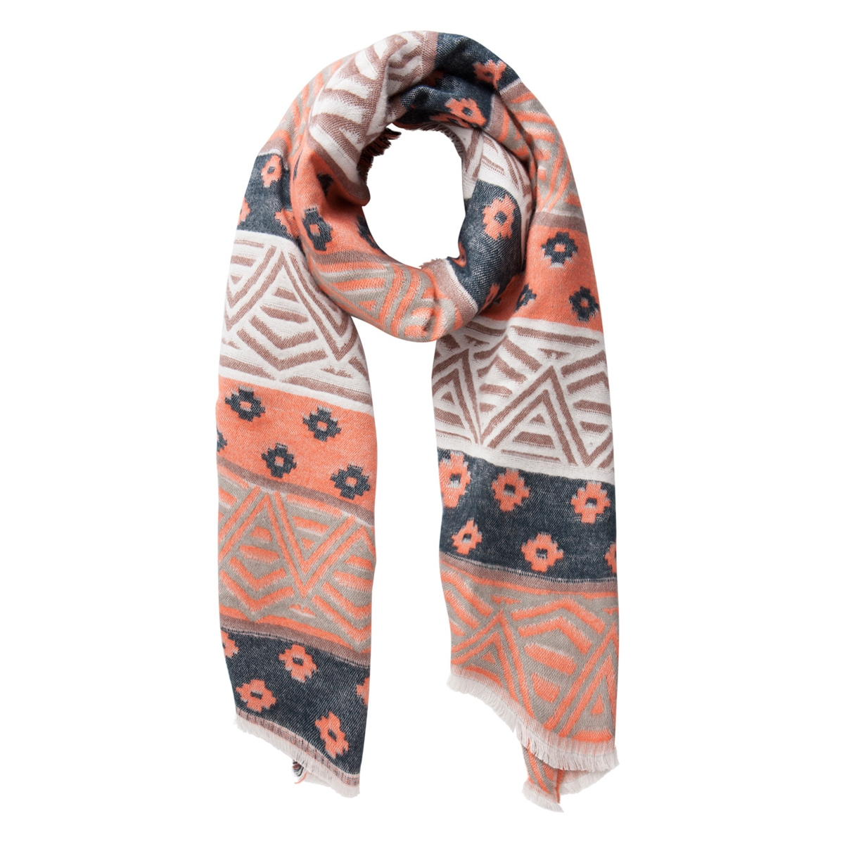 pcdina long scarf 17077972 pieces sjaal fusion coral