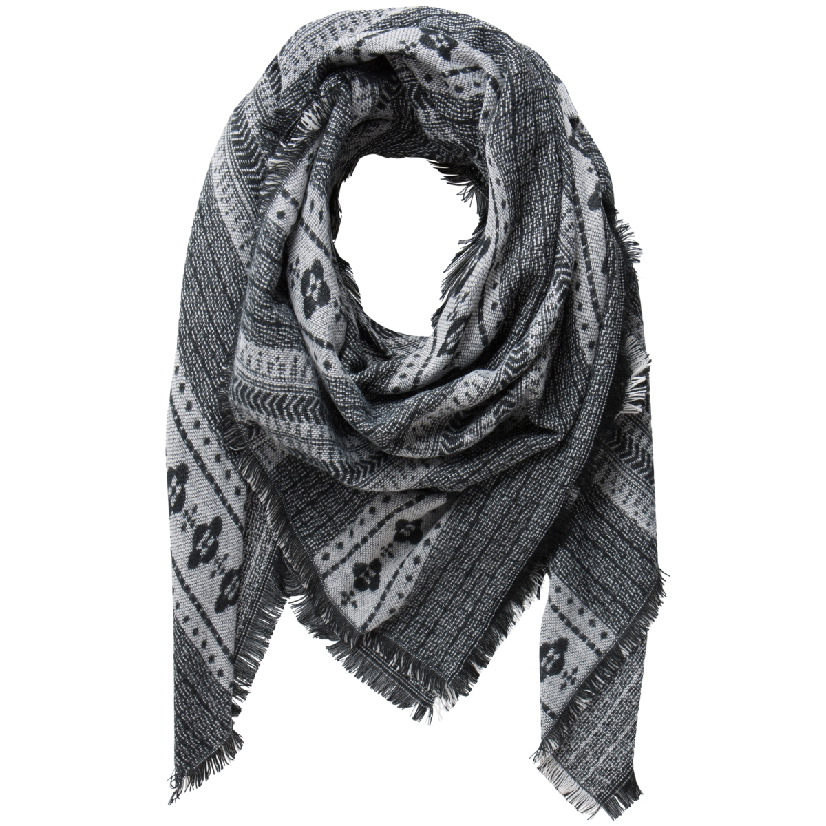 pcdomino square scarf 17077754 pieces sjaal black