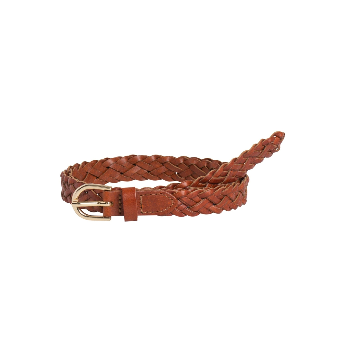 pcavery leather braided slim belt noos 17077740 pieces riem cognac