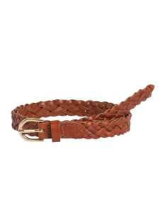 Pieces Riem PCAVERY LEATHER BRAIDED SLIM BELT NOOS 17077740 Cognac