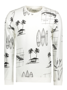 Only & Sons Sweater onsLARRY BIG AOP CREW NECK 22006635 Bright White