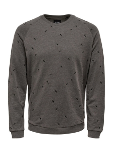 Only & Sons Trui onsCHESTER SMALL AOE CREW NECK 22007538 Medium Grey Melange