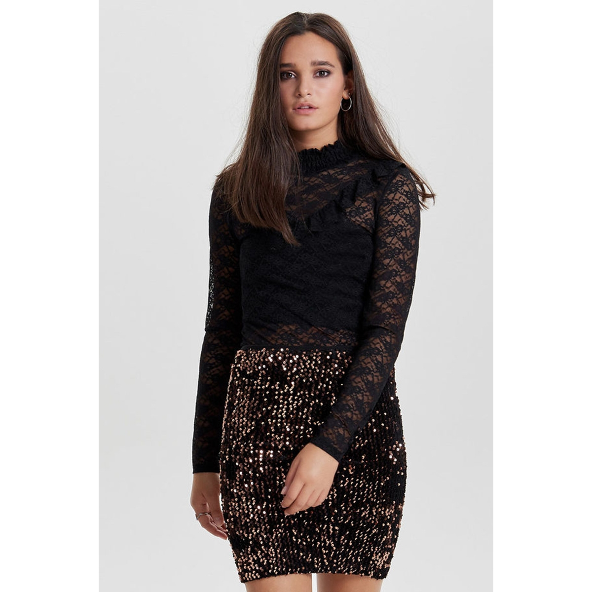 onldianna l/s frill lace body acc 15144156 only t-shirt black