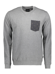 Only & Sons Trui onsTRISTEN AOP SWEAT 22008259 Medium Grey Melange