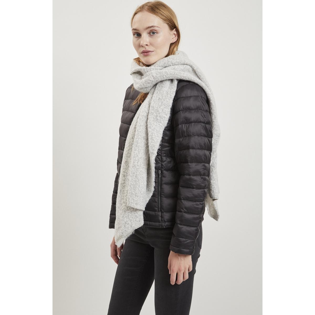 vitobi knit scarf-noos 14047111 vila sjaal light grey melange