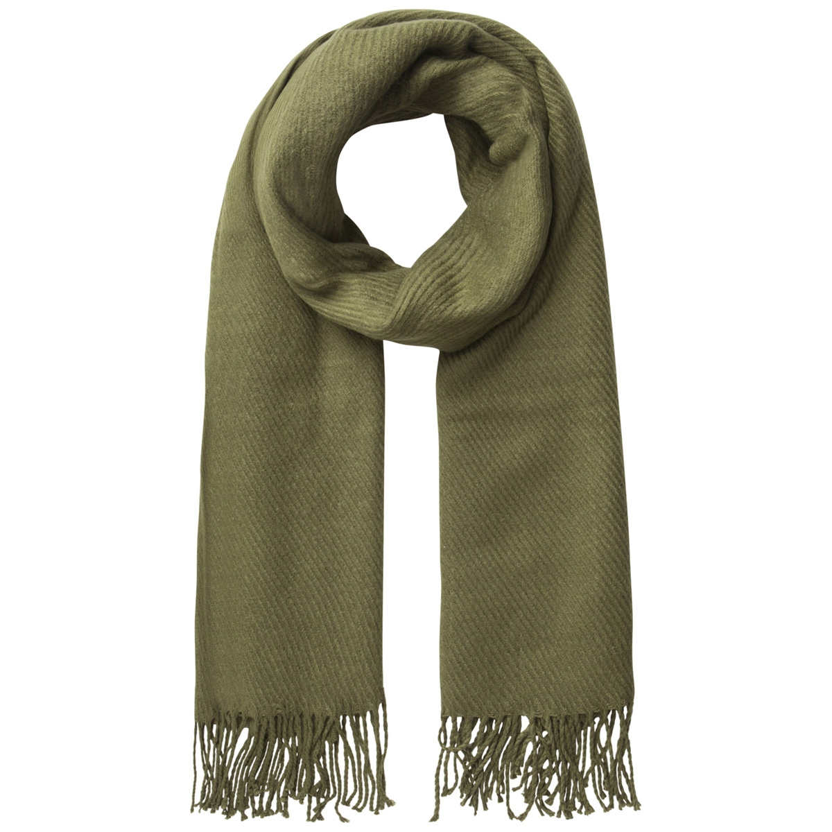 pckial long scarf noos 17057386 pieces sjaal winter moss