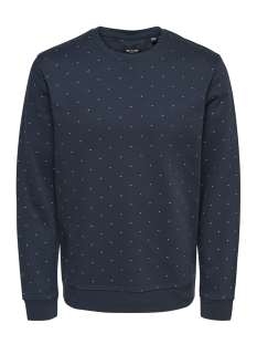Only & Sons Sweater onsWILFREDO DITSY CREW NECK SWEAT 22011010 Blue Nights