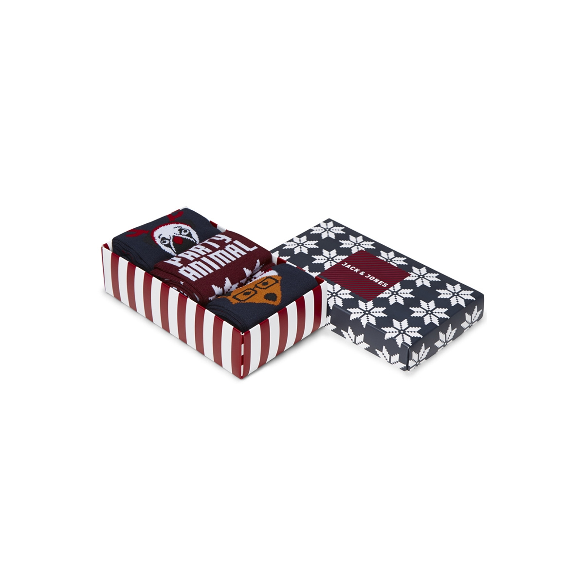 jacparty christmas socks giftbox 12144181 jack & jones accessoire navy blazer/tango red