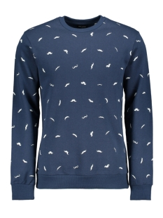 Only & Sons Trui onsALFRED MOUSTACHE AOP CREW NECK S 22013589 Dress Blues
