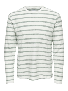 onsmarvin striped crew neck noos 22008598 only & sons trui cloud dancer/dark green