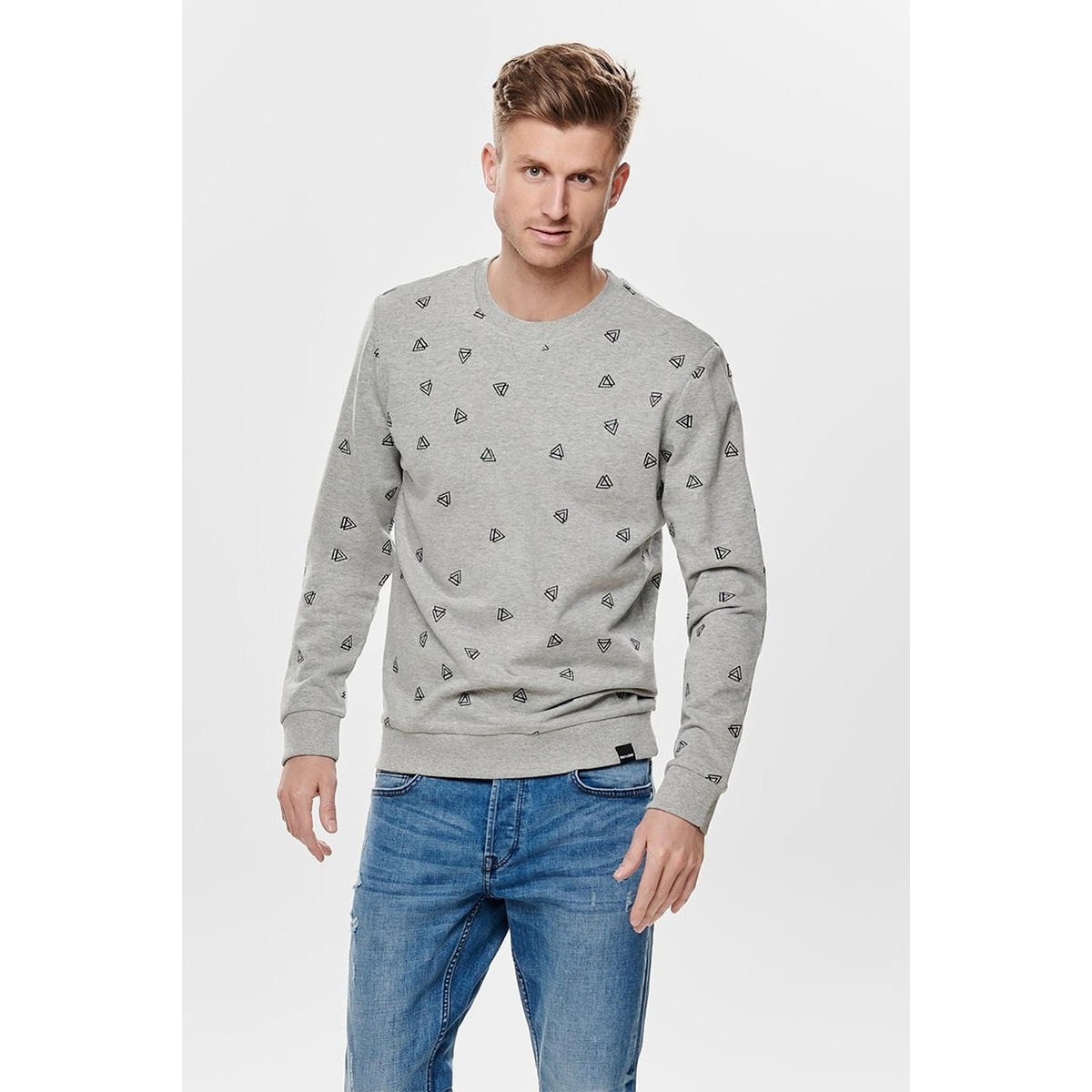 onsopus aoe crew neck sweat 22011843 only & sons sweater light grey melange