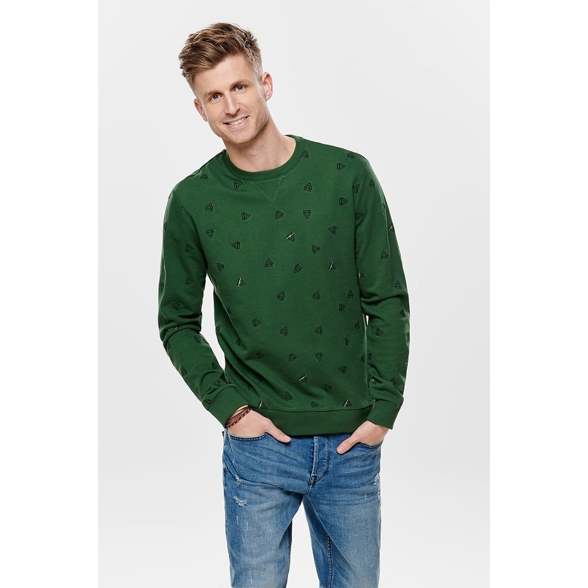 onsopus aoe crew neck sweat 22011843 only & sons sweater dark green