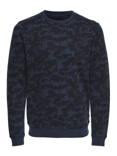 Only & Sons sweater onsTHOR AOP WASHED CREW SWEAT 22012549 Dress Blues