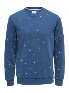 Only & Sons sweater onsNATHANIEL AOE CREW SWEAT 22012629 Majolica Blue