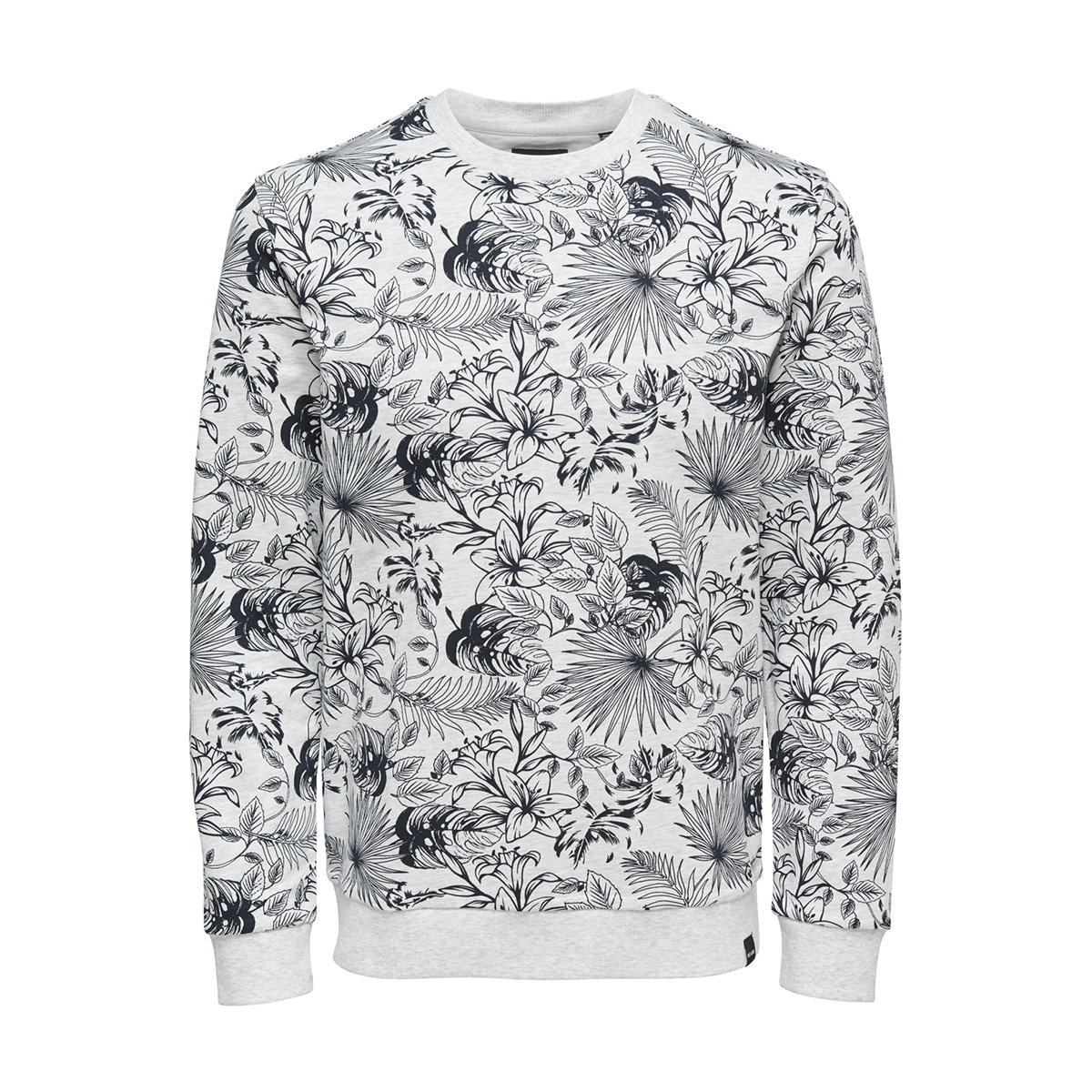 onskamill aop crew sweat 22012545 only & sons trui white melange