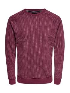 Only & Sons sweater onsKEAN AOP CREW NECK SWEAT 22013930 Zinfandel