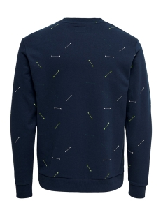 onstalus crew neck aop 22014592 only & sons trui dress blues