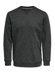 Only & Sons Trui ONSTABOR AOP CREW NECK 22014573 Black