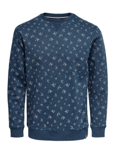 Only & Sons Trui ONSTABOR AOP CREW NECK 22014573 Insignia Blue