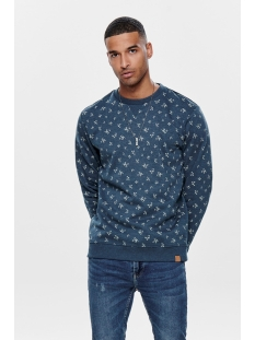 onstabor aop crew neck 22014573 only & sons trui insignia blue
