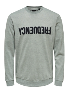 onstage crewneck 22014594 only & sons sweater light grey melange