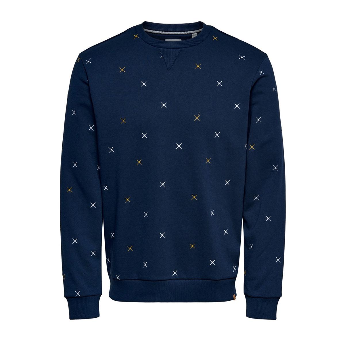 onsmsoren slim crewneck sweat 22014894 only & sons sweater dress blues
