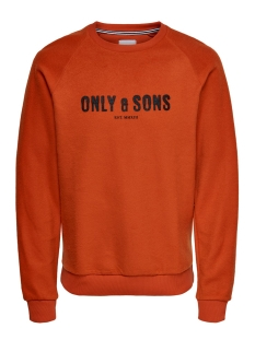 Only & Sons sweater ONSMSPENCER REG RAGLAN CREWNECK SWE 22014900 Rooibos Tea