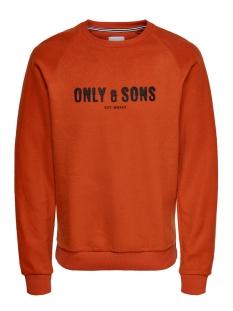 Only & Sons sweater ONSMSPENCER REG RAGLAN CREWNECK SWE 22014900 Rooibos Tea