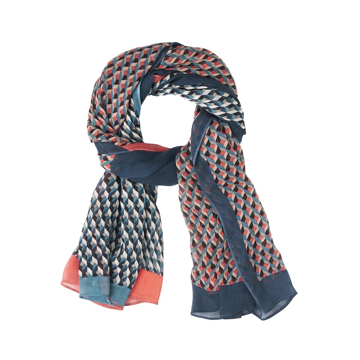sjaal met grafische print in twee kleuren 28001495 sandwich sjaal 50075
