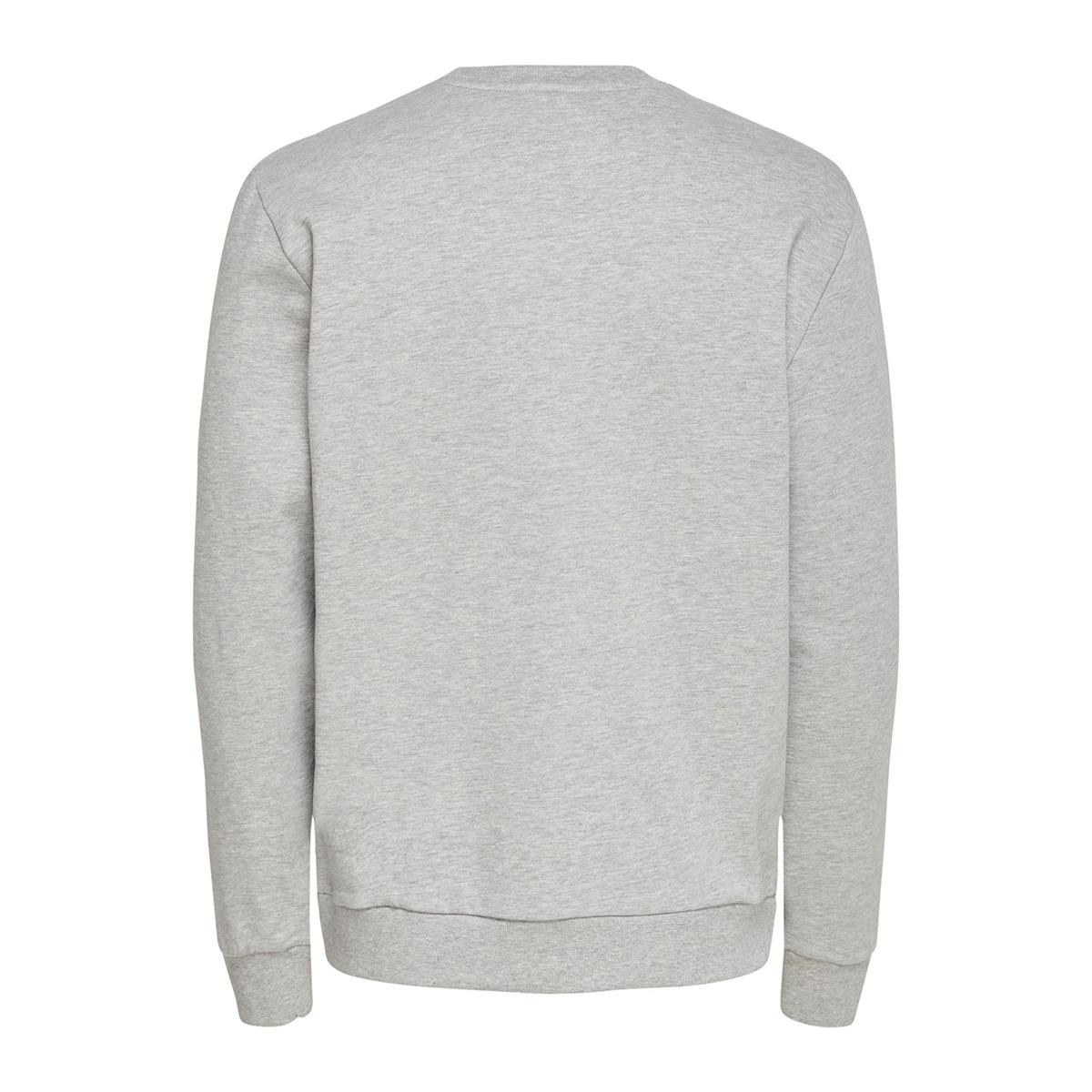 onselements reg chest emb crew 22016060 only & sons sweater light grey/melange
