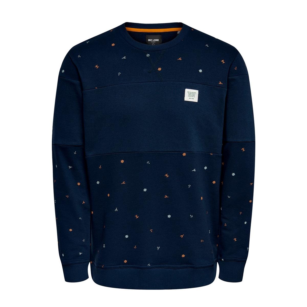 onsdexter reg crew neck sweat 22015400 only & sons sweater dress blues