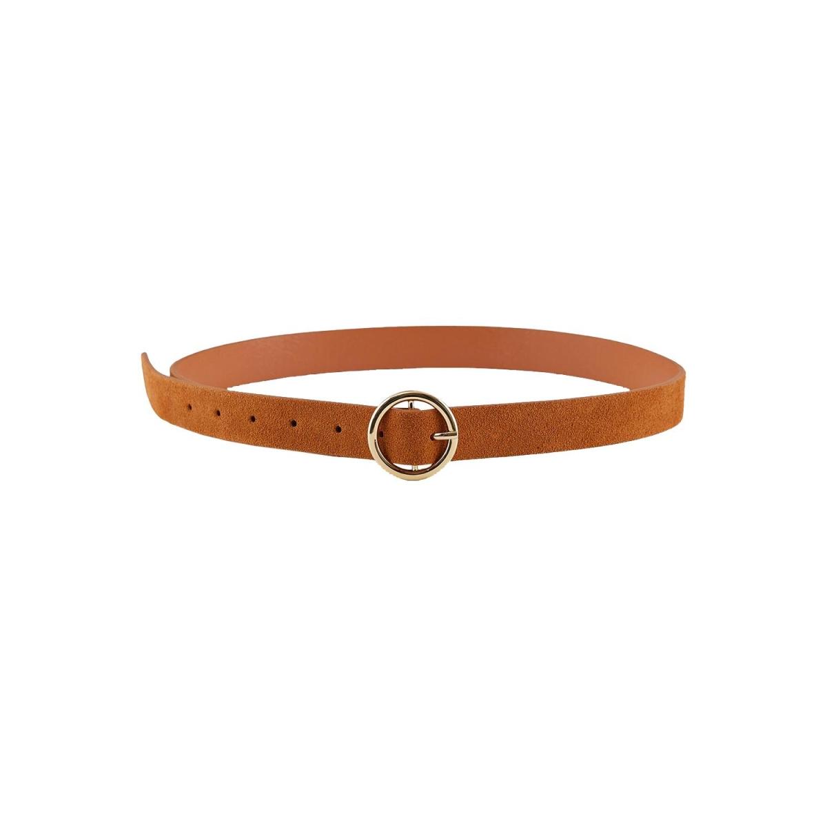 pcbonna suede jeans belt noos 17106159 pieces riem cognac/gold buckl