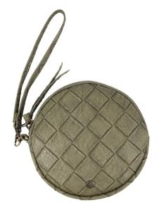 kekke ronde clutch zusss tas groen gevlochten