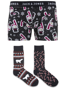 Jack & Jones Accessoire JACX-MAS TRUNKS & SOCKS GIFTBOX 12132401 Black/Snowman