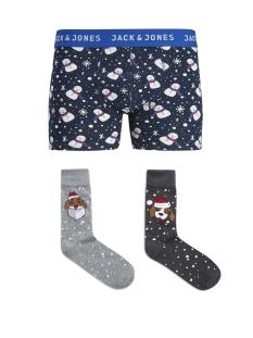 Jack & Jones Ondergoed JACGIFTBOX TRUNKS & SOCKS LTD 12144747 Navy Blazer/Snowmen