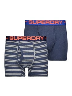 Superdry Ondergoed M31107NT SPORT BOXER DOUBLE PACK NAVY MARL/POLO STRIPE NVY MARLl