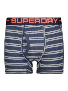 m31107nt sport boxer double pack superdry ondergoed navy marl/polo stripe nvy marll