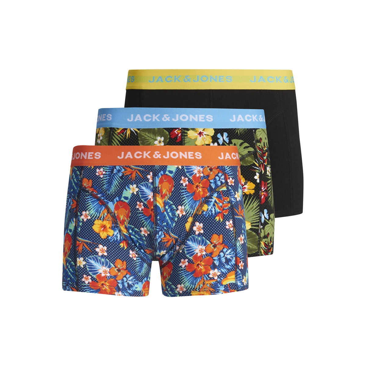 jaccrazy flower print trunks 3 p 12154176 jack & jones ondergoed fiery red