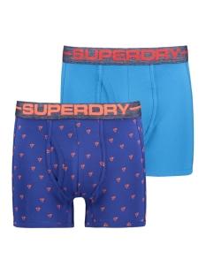 sport boxer double pack m31000nr superdry ondergoed coastal blu/lightning bolt aop