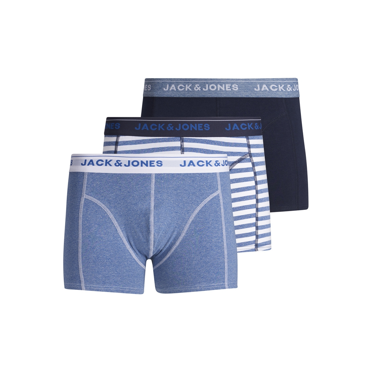 jacsolid twist trunks 3 pack 12154179 jack & jones ondergoed nautical blue