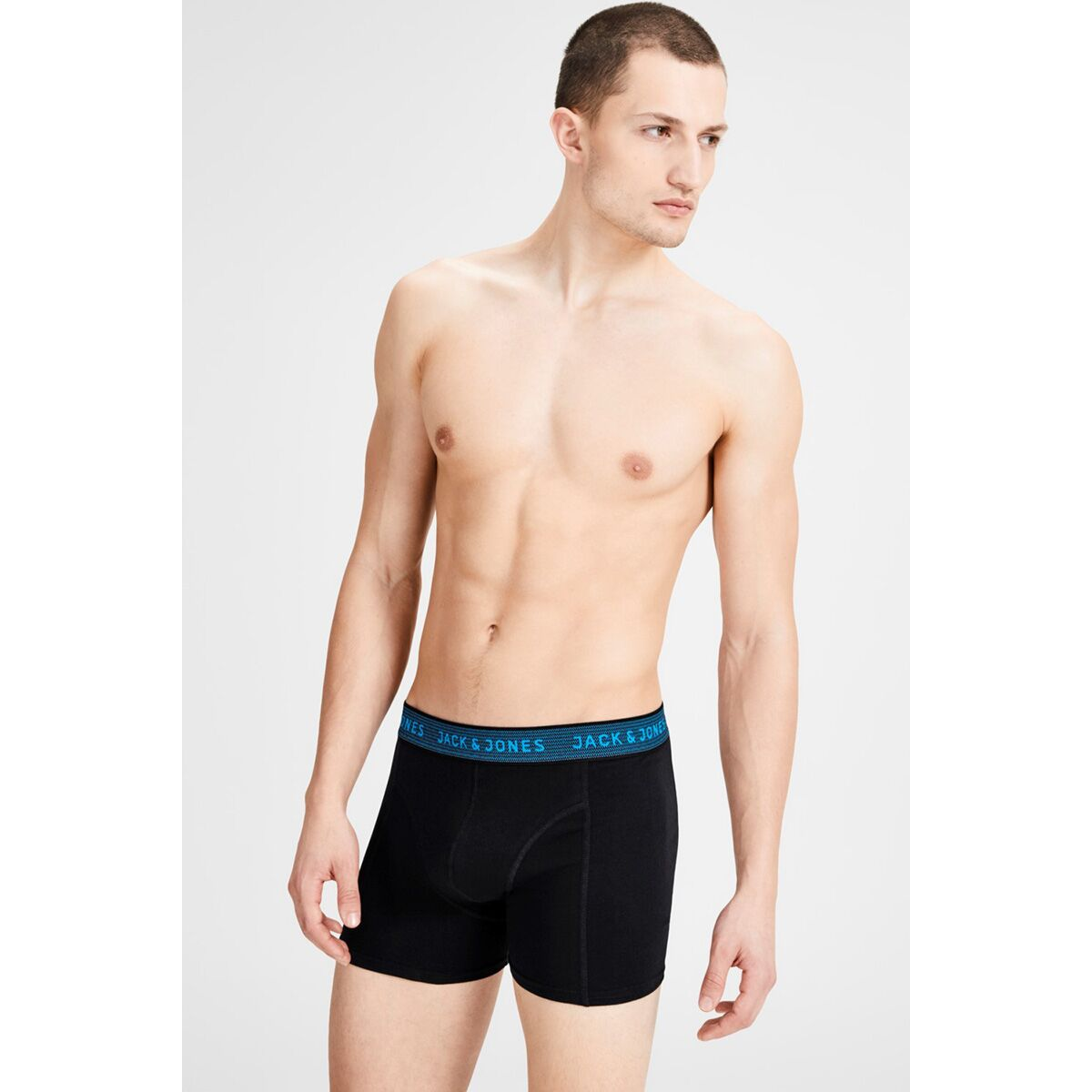 jacwaistband trunks 3 pack noos 12127816 jack & jones ondergoed asphalt/hawaian ocean