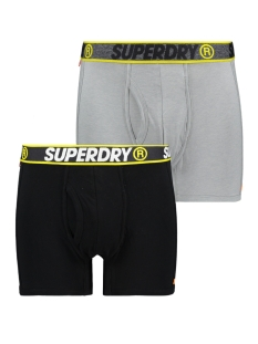 sport boxer dbl pack m3100019a superdry ondergoed black/steel grey feeder