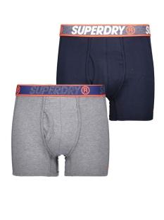 sport boxer dbl pack m3100019a superdry ondergoed chrome navy feeder/downhill navy
