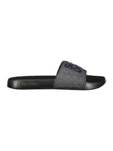 lineman poolslide mf300009a superdry slipper black / black grit / cobalt