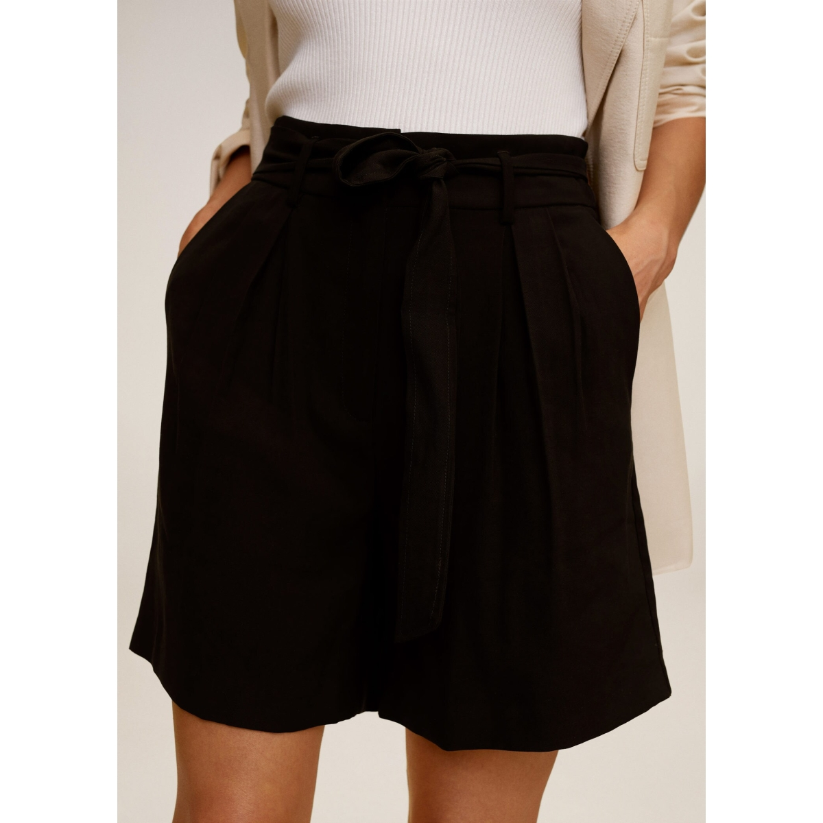 high waist short met strik 77030548 mango korte broek 99