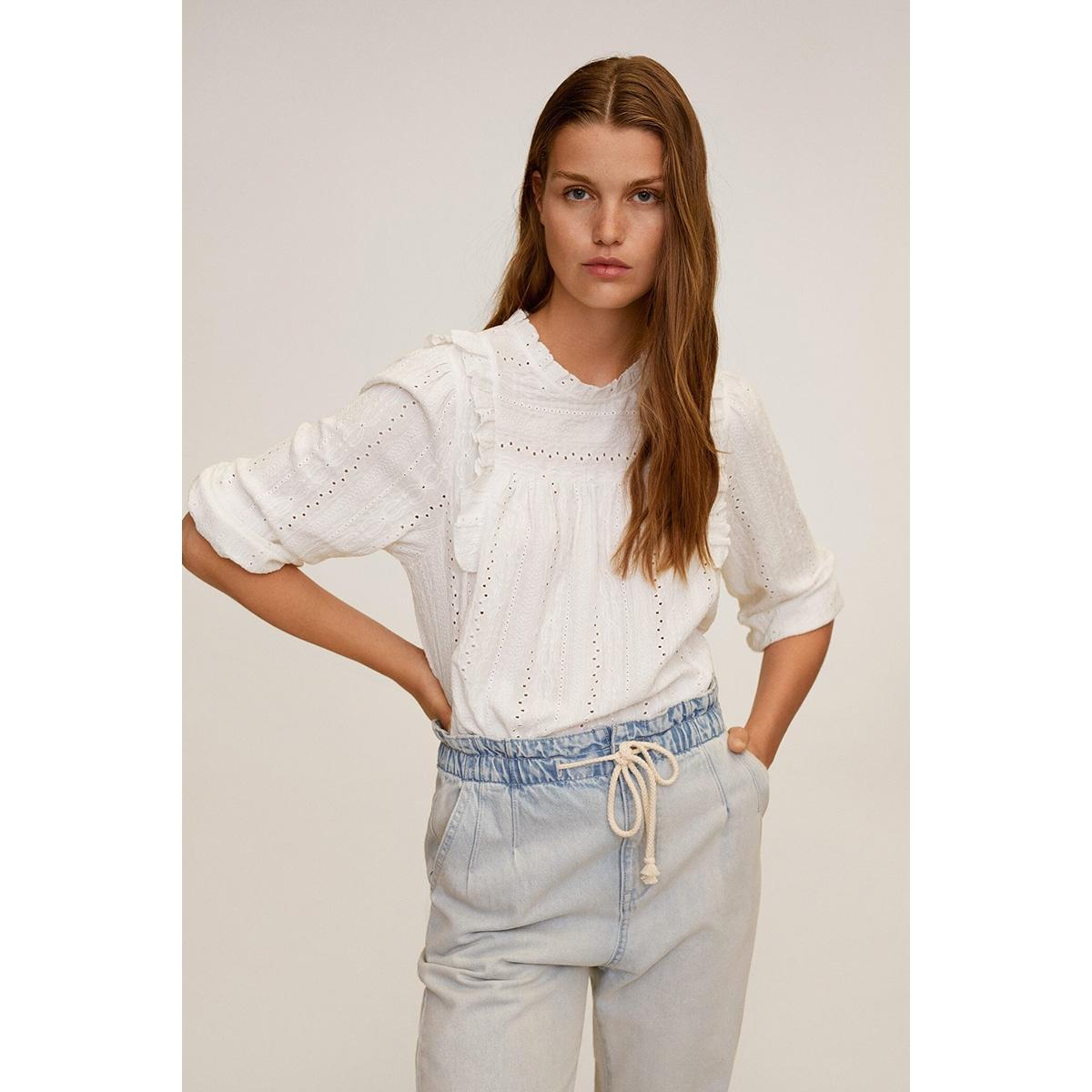opengewerkte blouse met ruches 67009221 mango blouse 02